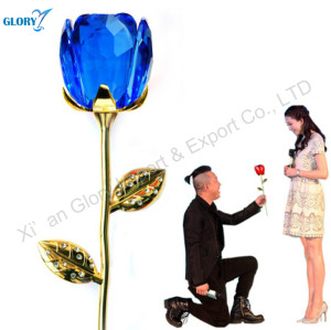 Wholesale Quality Blue Crystal Rose For Wedding
