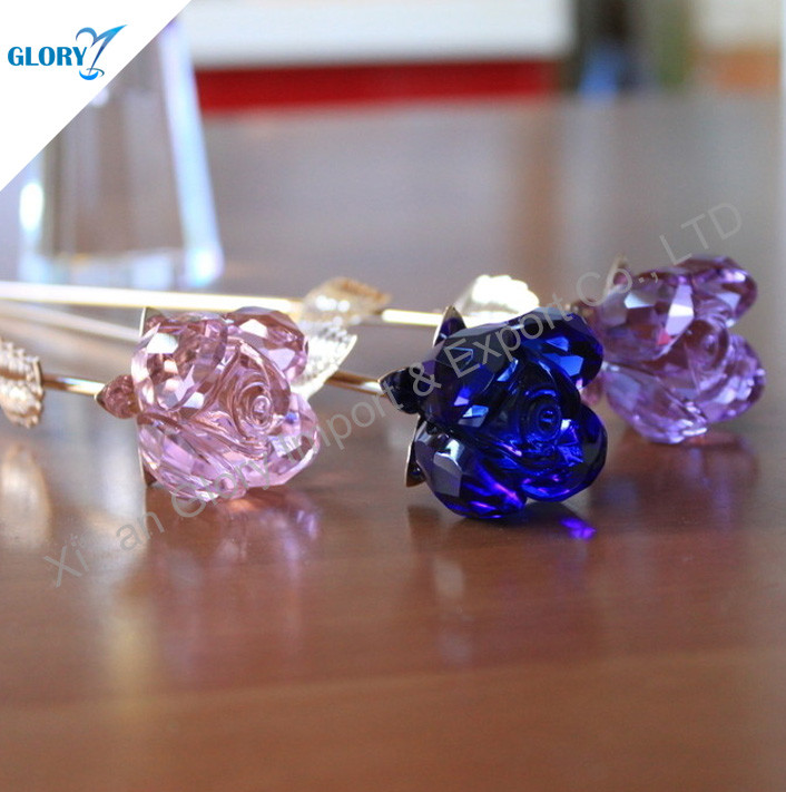 Romantic Purple Crystal Rose For Wedding Decoration