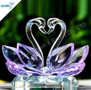 Lovely Purple Crystal Swan For Wedding Gifts