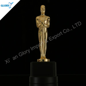 Custom Metal Oscar Trophy With Wooden Base