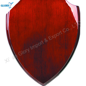 Custom Quality Red solid Wood Shield Plaque