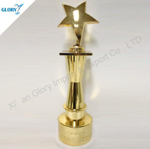 Custom Gold Metal Star Trophy For Award Show