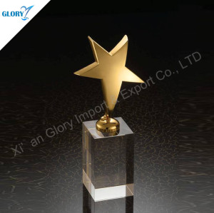 Quality Golden Star Metal Trophy With Crystal Base