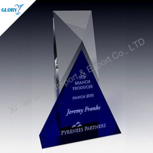 Blue Crystal Souvenir For Corporate Award