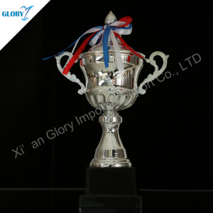 Metal Silver Trophy Cup With Black Base