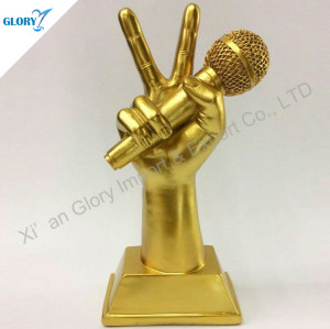 Custom Golden Music Trophies With Microphone