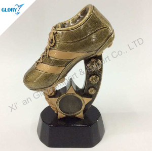 Resin Football Shoe Trophy With Star