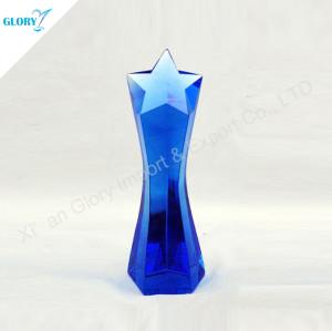 High Quality Crystal Blue Star Trophy