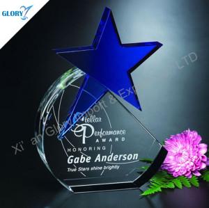 New Design Blue Star Trophy Award