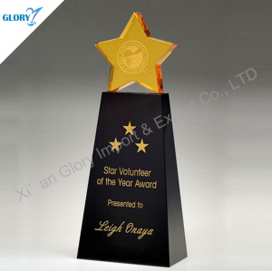 New Colorful Super Star Crystal Trophy