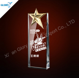 New Crystal Metal Stars Award Trophy