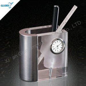 Unique Office Desk Pen Holder With Clock