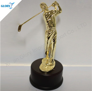 Golden Action Metal Golf Trophy For Wholesale