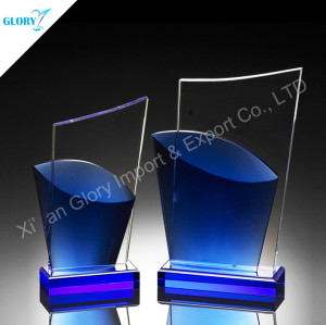 Customized Blue Crystal Award Plaque Trophies