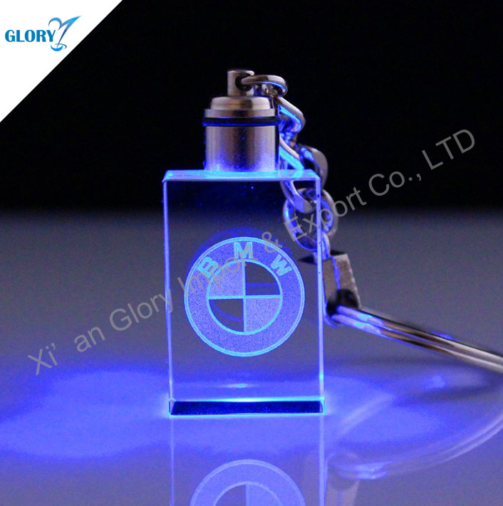Coloful 3D Crystal Keychain with LED Light
