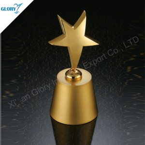 Customized Quality Golden Metal Star Shape Trophy