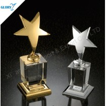 Quality Metal Star Shaped Trophies with Crystal Base