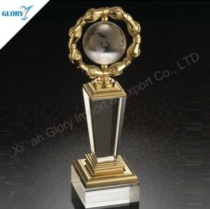 Fancy Metal Crystal Trophy Globe for Souvenir