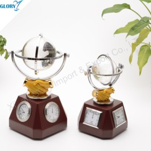 Quality Wooden Desktop Clock with Crystal Globe