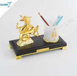 Elegant Golden Dragon Desktop Gift with Pen Holder