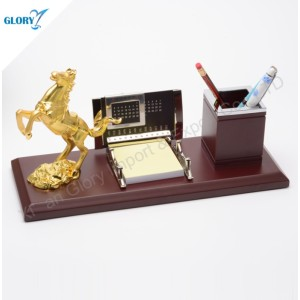 Novelty Desktop Golden Horse Figurine with Pen Holder