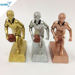 Quality Resin Gold Silver Bronze Basketball Trophies for Kids