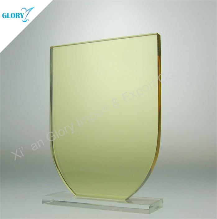 Custom Engraved Light Yellow Glass Trophies and Awards