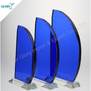 Blue Engraved Sailing Boat Glass Plaques and Awards