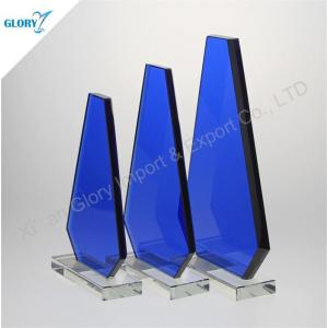 Wholesale Etched Blue Tower Awards Glass