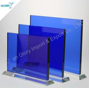 Personalized Engraved Blank Blue Glass Plaques for Award