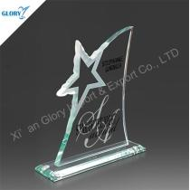 Fashionable Engraved Star Glass Trophy