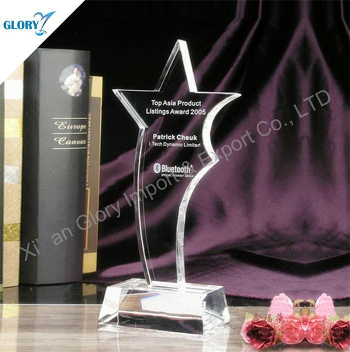New Engraving Crystal Glass Star Trophies