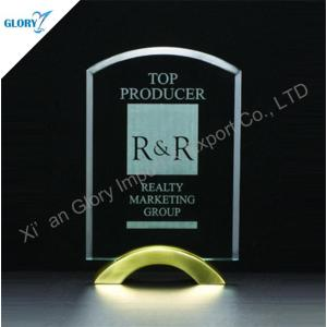 Custom Award Engraved Crystal Plaques with Yellow Base