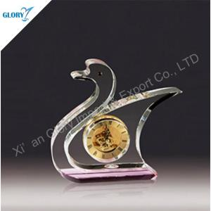 Custom Elegant Swan Crystal Clock for Gift
