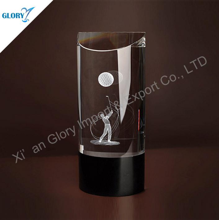 3d Laser Crystal Golf Trophy for Souvenir ,