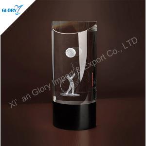 3d Laser Crystal Golf Trophy for Souvenir