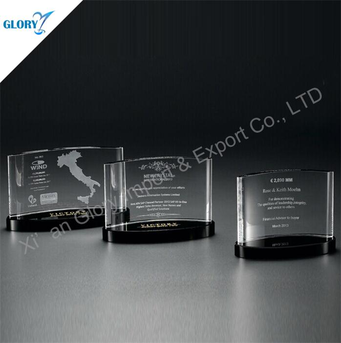 Custom Crystal Plaque Trophy Recognition Awards