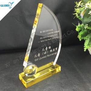 Calidad del cristal Trofeo de vela personalizados