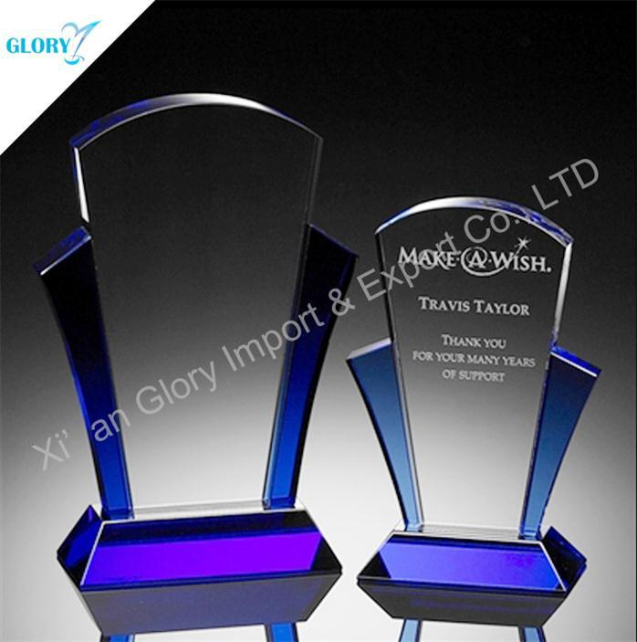 Wholesale Blue Side Trophies Glass for Engraving