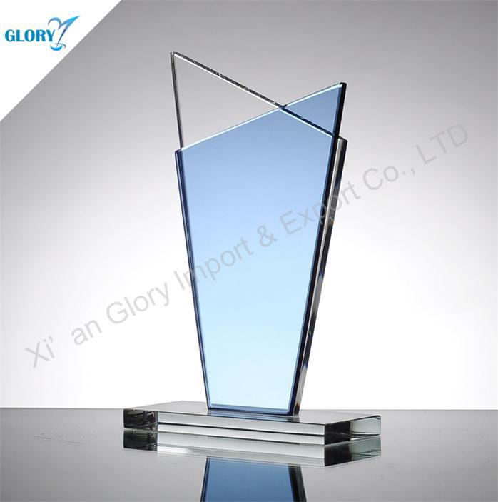 Blank Light Blue Glass Trophy Award for Souvenir