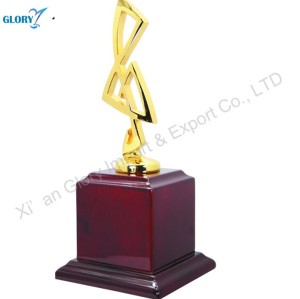 Custom Gold Metal Personalized Trophies with Wood Base