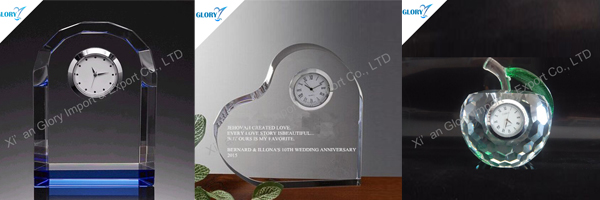 crystal clock - gloryawardtrophy