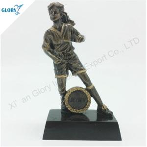 Wholesale Resin Woman Football Trophy for Souvenir
