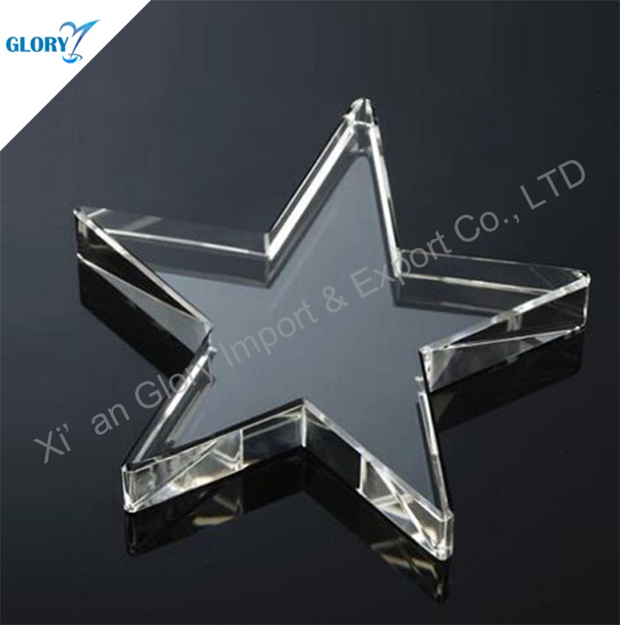 Quality Clear Paperweight K9 Glass Crystal Star for Souvenir
