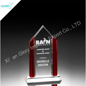 Wholesale Engraved Red Crystal Glass Awards Trophies