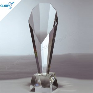 Custom Engraved Clear Crystal Pillar Trophy for Award