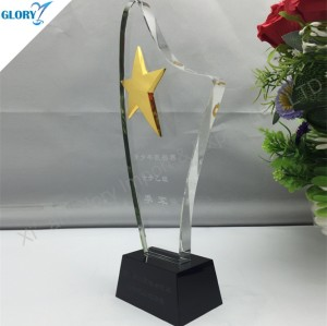 Engraved Metal Gold Star Optical Crystal Plaque Trophy