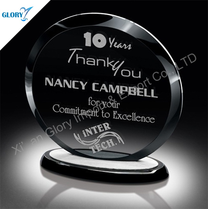 Wholesale Best Round Crystal Plaques 10 Year Trophy for Companies