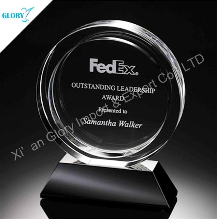 Blank Round Glass Crystal Trophy Plates for Business Award
