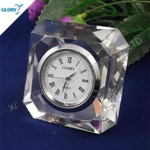 New Engraved Small Crystal Desk Clock for Souvenir